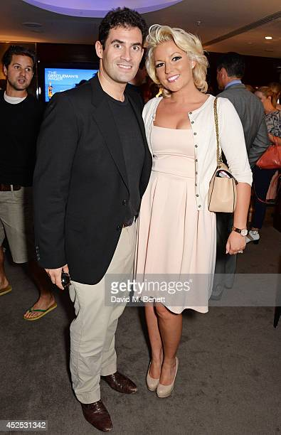 Zafar Rushdie and Natalie Coyle attend a VIP screening of 'Gentleman's Wager' hosted by Johnnie Walker Blue Label at The Bulgari Hotel on July 22...