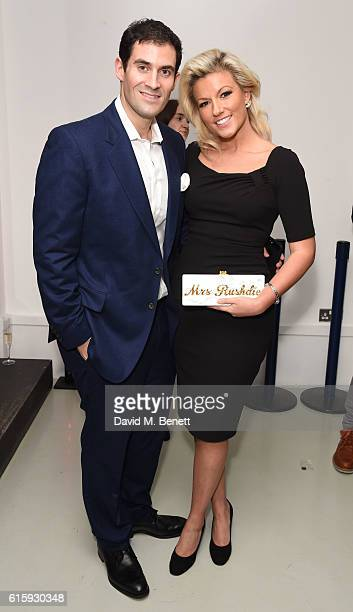 Zafar Rushdie and Natalie Coyle attend an exclusive preview of the Faberge 'Say Yes In Colour' collection at Rook Raven Gallery on October 20 2016 in...