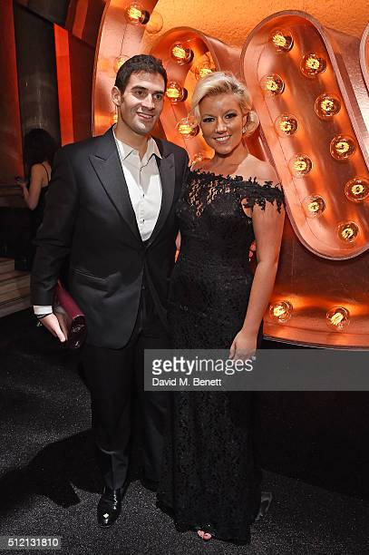 Zafar Rushdie and Natalie Coyle attend the Warner Music Group Ciroc Vodka Brit Awards after party at Freemasons Hall on February 24 2016 in London...