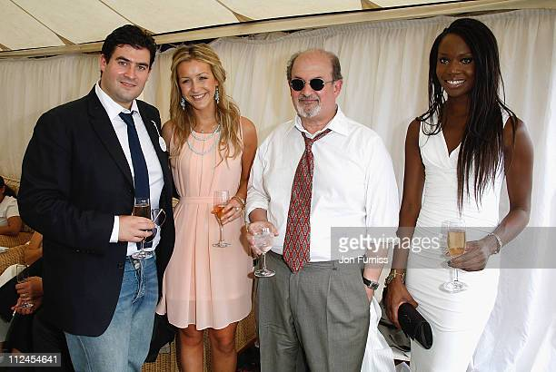Zafar Rushdie Fiona Hedges author Salman Rushdie and Aita Ighodaro inside the Cartier Tent during the Cartier International Polo held at Guards Polo...