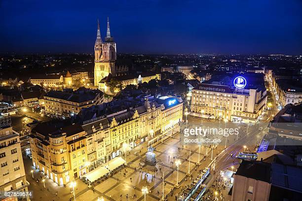 zagreb at night - zagreb stock pictures, royalty-free photos & images