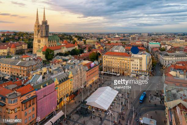 zagreb city in croatia that shows the beautiful old city among the sunrise in the morning. - ザグレブ市 ストックフォトと画像