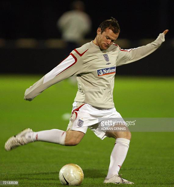 England forward Wayne Rooney kicks the ball during a warm up session on the pitch at Maksimir Stadium in Zagreb 10 October 2006 England play Croatia...