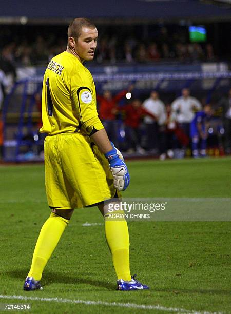 England's goalkeeper Paul Robinson looks at the ground after missing a kick which then rolled into the goal for Croatia's second goal during the Euro...