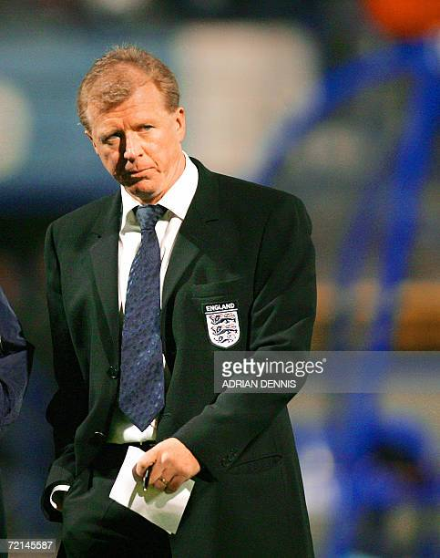England's Manager Steve McLaren walks off the pitch at halftime during the Group E European Championships qualifying match against Croatia at...