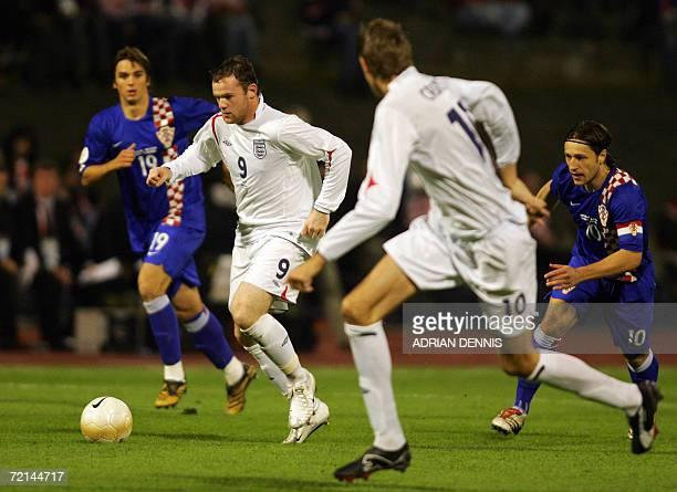 England's Wayne Rooney runs at the Croatian defence during the Group E European Championships qualifying football match at Maksimir Stadium in Zagreb...