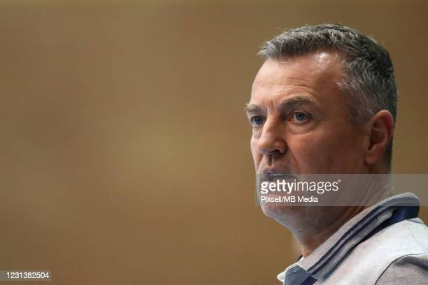 Zagreb Head Coach Ivica Obrvan looks on during the VELUX EHF Champions League group B match between HC PPD Zagreb and Telekom Veszprem HC at Sutinska...