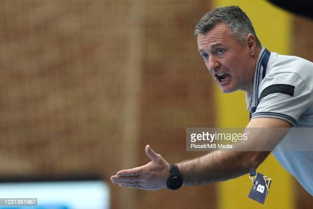 Zagreb Head Coach Ivica Obrvan reacts during the VELUX EHF Champions League group B match between HC PPD Zagreb and Telekom Veszprem HC at Sutinska...