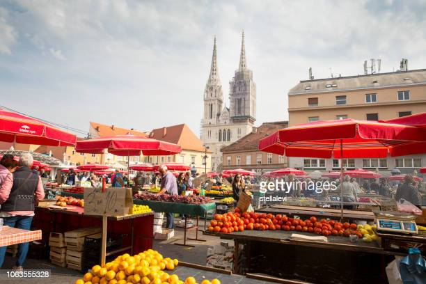 zagreb market and people shopping - zagreb stock pictures, royalty-free photos & images