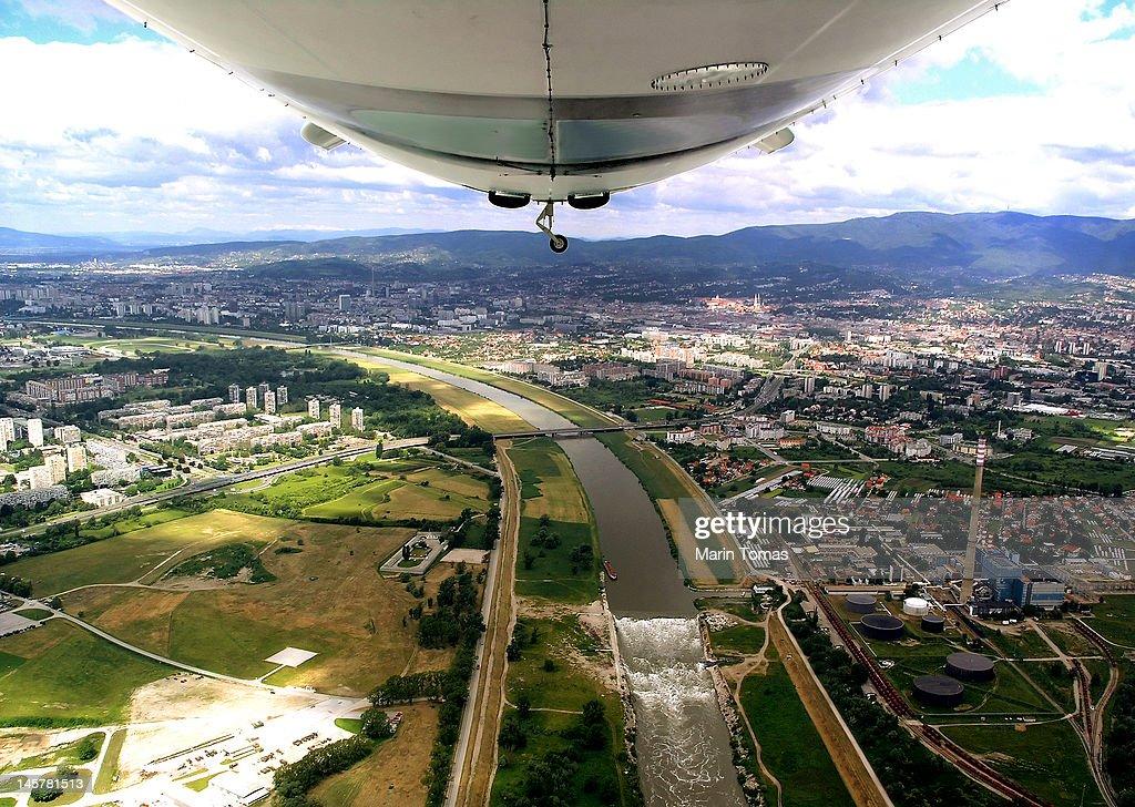 Zagreb shot from zeppelin : Stock Photo
