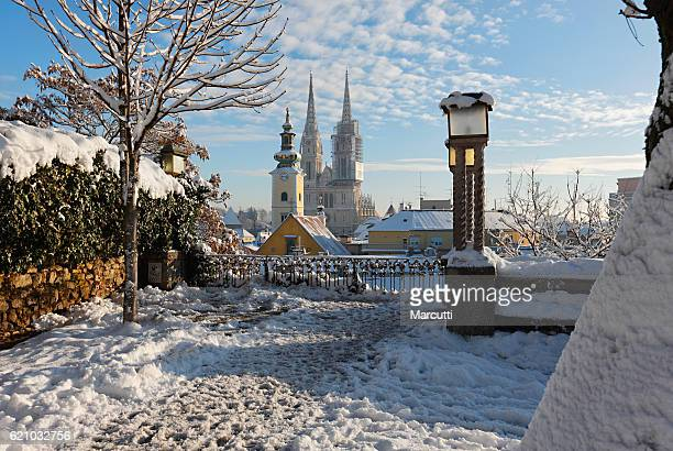 zagreb winter - zagreb stock pictures, royalty-free photos & images