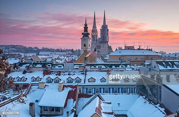 zagreb winter sunrise - zagreb stock-fotos und bilder