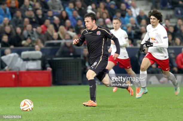 Zagreb's Angelo Henriquez scores 24 during the Europa League match between Red Bull Salzburg and GNK Dinamo Zagreb at Red Bull arena in Salzburg...