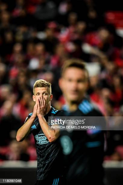 Zagreb's Spanish midfielder Dani Olmo gestures during the UEFA Europa League round of 16 second leg football match between SL Benfica and GNK Dinamo...