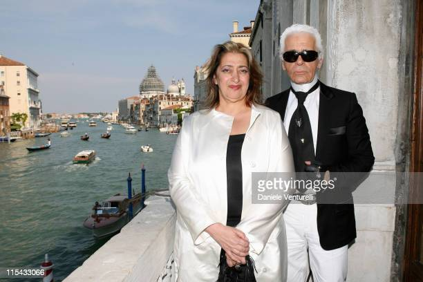 Zaha Hadid and Karl Lagerfeld during Press Conference in the Palazzo Contarini Polignac MOBILE ART Chanel Contemporary art Container by Zaha Hadid at...