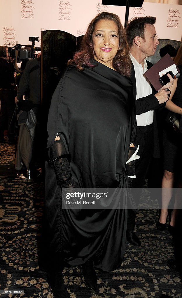 Zaha Hadid attends a drinks reception at the British Fashion Awards 2012 at The Savoy Hotel on November 27, 2012 in London, England.