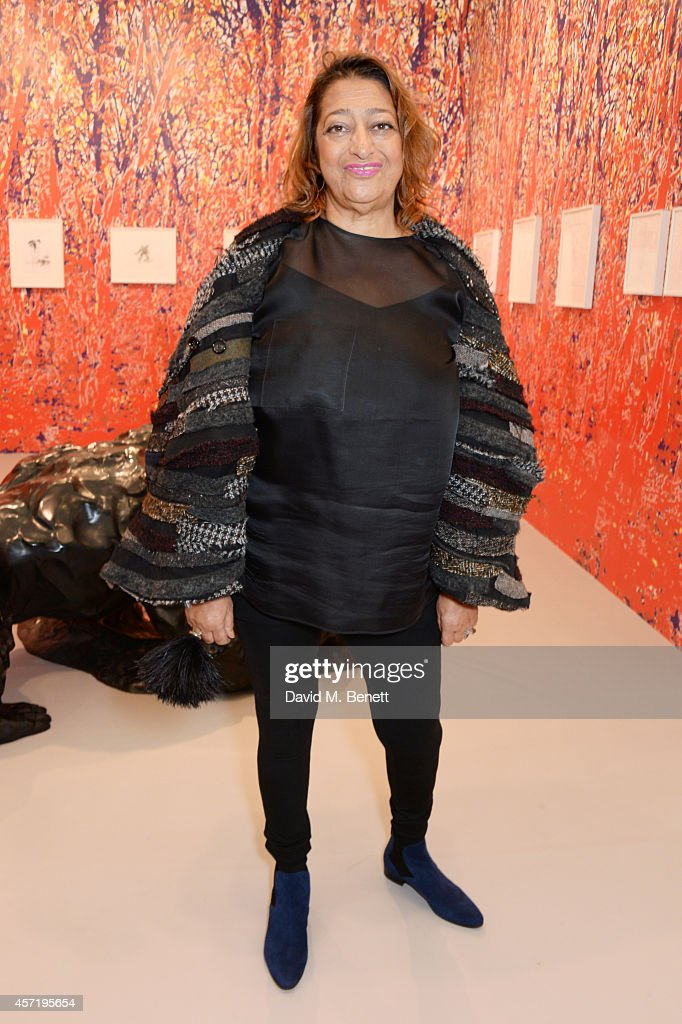 Zaha Hadid attends VIP Preview of the Frieze Art Fair 2014 in Regent's Park on October 14, 2014 in London, England.