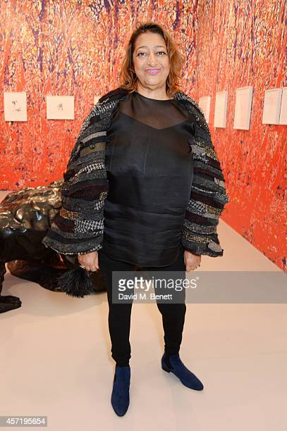 Zaha Hadid attends VIP Preview of the Frieze Art Fair 2014 in Regent's Park on October 14 2014 in London England