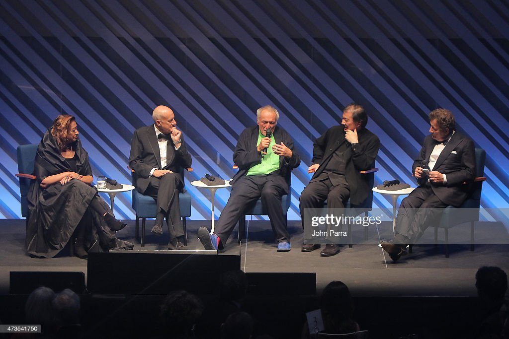 Zaha Hadid, Lord Norman Foster, Lord Richard Rogers, Shigeru Ban and Francesco Dal Co onstage during Pritzker Architecture Prize 2015 at New World Symphony on May 15, 2015 in Miami Beach, Florida.