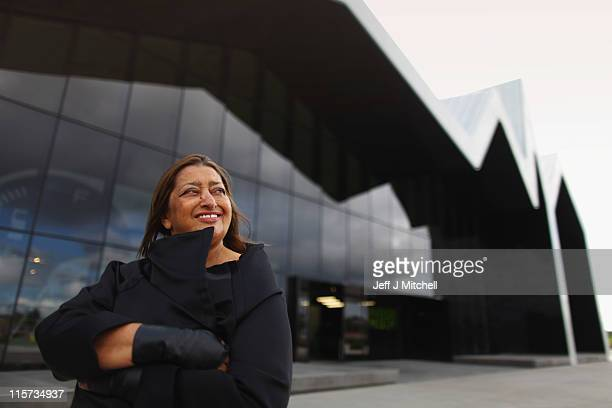 Zaha Hadid world famous architect visits the Riverside Museum her first major public commission in the UK on June 9 2011 in Glasgow Scotland The...