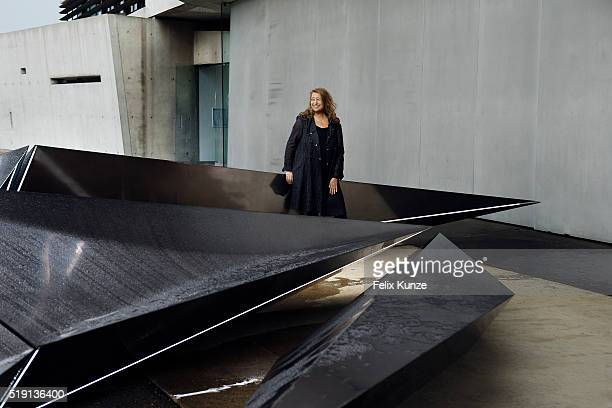 Zaha HadidArchitect Zaha Hadid is photographed on June 10 2013 with her sculpture 'Prima' an installation to mark the 20th anniversary of Vitra Fire...