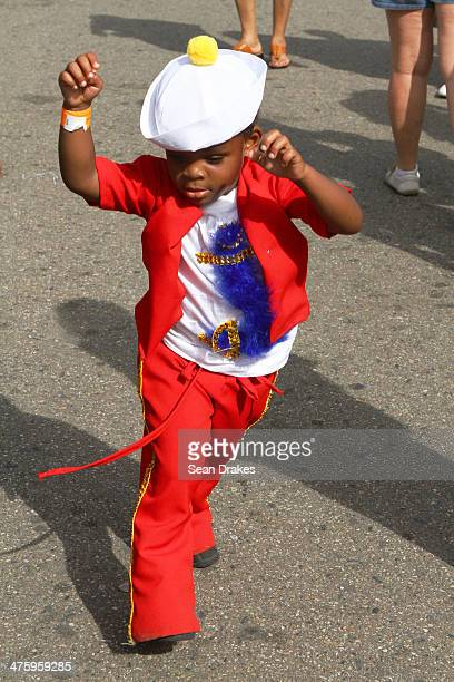 Zahaki Kirk dances during the Republic Bank Children's Carnival Parade on March 01 2014 in Port of Spain Trinidad