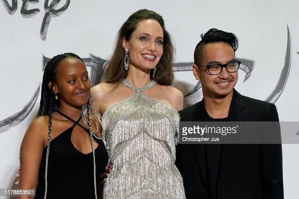 Zahara Jolie-Pitt, Angelina Jolie, and Maddox Jolie-Pitt attend the Japan premiere of 'Maleficent: Mistress of Evil' on October 03, 2019 in Tokyo,...