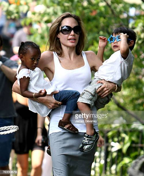 Zahara JoliePitt Angelina Jolie and Pax JoliePitt visit the Central Park Carousel in New York City on August 25 2007