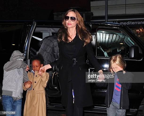 Zahara JoliePitt Angelina Jolie and Shiloh JoliePitt visit a Manhattan movie theater on December 3 2011 in New York City