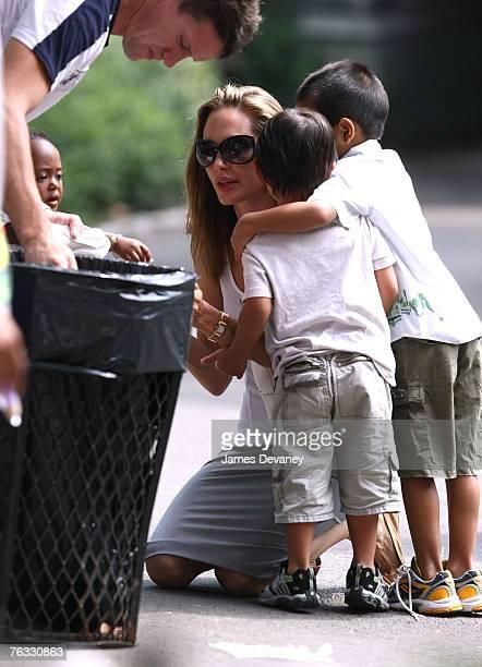 Zahara JoliePitt Maddox JoliePitt Angelina Jolie and Pax JoliePitt visit the Central Park Carousel in New York City on August 25 2007