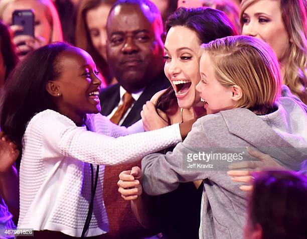 Zahara Marley JoliePitt actress/director Angelina Jolie and Shiloh Nouvel JoliePitt celebrate during Nickelodeon's 28th Annual Kids' Choice Awards...