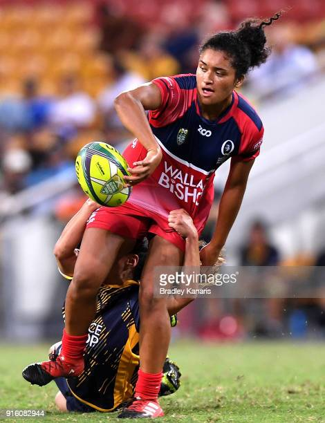 Zahara Temara of Queensland gets a pass away during the 2018 Global Tens match between Queensland and the ACT Brumbies at Suncorp Stadium on February...