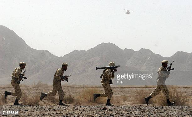 Iranian soldiers participate in military manoeuvres at SistanBaluchestan province some 50 kms east of city of Zahedan near the Pakistani border 19...