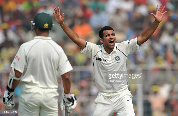 Zaheer Kahn of India appeals for LBW during day one of the Second Test match between India and South Africa at Eden Gardens on February 14 2010 in...