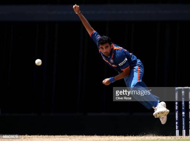 Zaheer Khan of India bowls a delivery during the ICC World Twenty20 Super Eight match between Australia and India at the Kensington Oval on May 7,...
