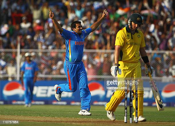 Zaheer Khan of India celebrates the wicket Cameron White of Australia after he caught and bowled him during the 2011 ICC World Cup Quarter Final...