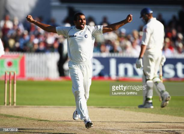 Zaheer Khan of India celebrates the wicket of Paul Collingwood of England during day four of the Second Test match between England and India at Trent...