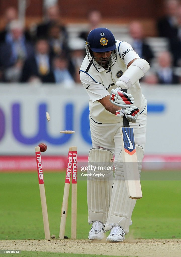 Zaheer Khan of India is bowled by James Anderson of England during the first npower test match between England v India at Lord's Cricket Ground on July 23, 2011 in London, England.