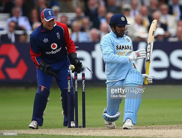 Zaheer Khan of India is clean bowled by Monty Panesar of England during the 7th NatWest ODI between England and India at Lords on September 8 2007 in...