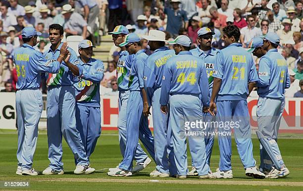 Zaheer Khan of India is congratulated by teammates after bowling out Nick Knight of England in the Natwest series final at Lords 13 July 2002