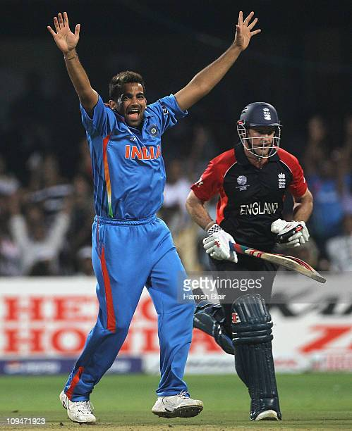Zaheer Khan of India traps Andrew Strauss of England LBW during the 2011 ICC World Cup Group B match between India and England at M Chinnaswamy...