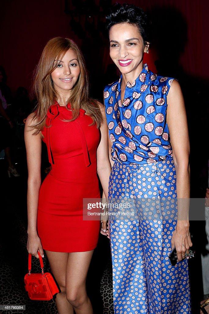 Zahia Dehar and Farida Khelfa Seydoux attend the Schiaparelli show as part of Paris Fashion Week - Haute Couture Fall/Winter 2014-2015 on July 7, 2014 in Paris, France.