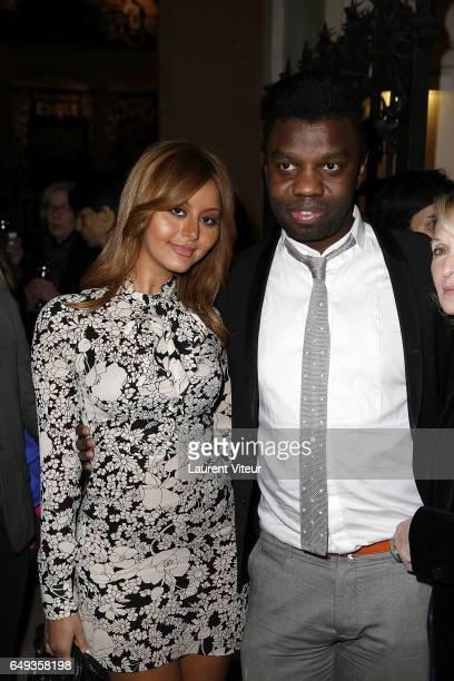 Zahia Dehar and Prince JeanBarthelemy Bokassa attend Dessiner L'Or et L'Argent Odiot Orfevre Exhibition Launch at Musee Des Arts Decoratifs on March...