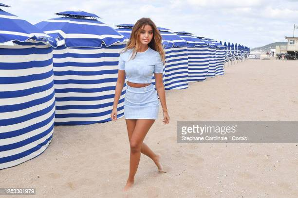 Zahia Dehar attends a photocall prior to the closing ceremony of the 34th Cabourg Film Festival on June 29, 2020 in Cabourg, France.