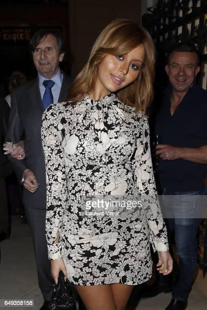Zahia Dehar attends Dessiner L'Or et L'Argent Odiot Orfevre Exhibition Launch at Musee Des Arts Decoratifs on March 7 2017 in Paris France