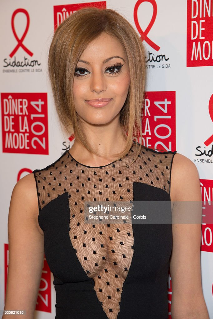 Zahia Dehar attends the Sidaction Gala Dinner at Pavillon d'Armenonville, in Paris.