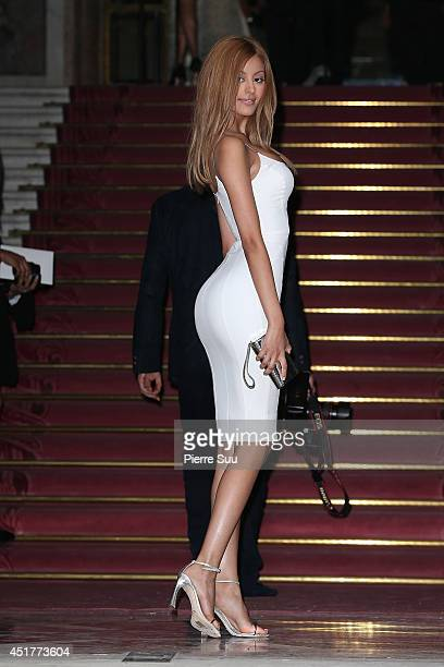 Zahia Dehar attends the Versace show as part of Paris Fashion Week Haute Couture Fall/Winter 20142015 at on July 6 2014 in Paris France
