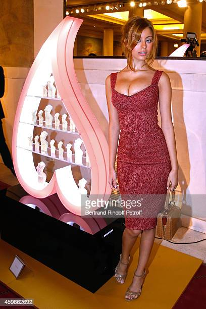 Zahia Dehar poses in front of her Christmas Tree during the 19th Edition of 'Les Sapins de Noel des Createurs Designer's Christmas Trees Press...