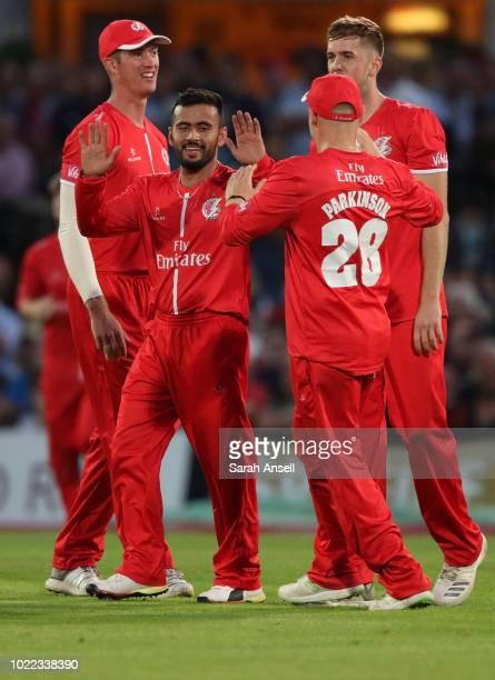 Zahir Khan of Lancashire Lightning celebrates with teammates after bowling Sam Billings of Kent Spitfires during the Vitality Blast QuarterFinal...