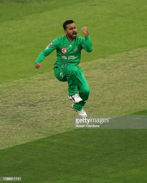 Zahir Khan of the Stars celebrates taking the wicket of Jake Fraser-McGurkof the Renegades during the Big Bash League match between the Melbourne...